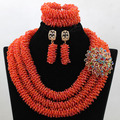 Новое Прибытие! великолепный Оранжевый Африканские Бусы Комплект Ювелирных Изделий Нигерии Свадебные Африканские Хрустальные Бусины Комплект Ювелирных Изделий Бесплатная Доставка HX993