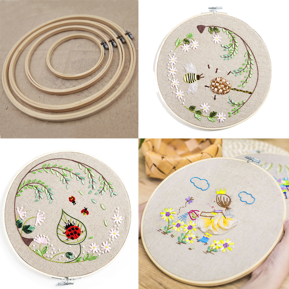 4PCS Cross stitch Machine Bamboo Frame Embroidery Hoop Ring Round ...