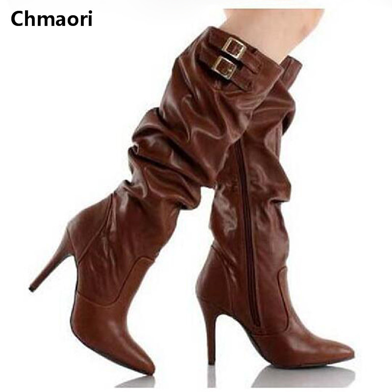 Hot Selling Women Motorcycle Boots High Quality Leather Pointed Toe Side Zipper Thin High Heels Bootas Knee High Boots Women hot selling 2015 women denim boots pointed toe tassel patchwork knee high boots crystal thin high heels winter motorcycle boots