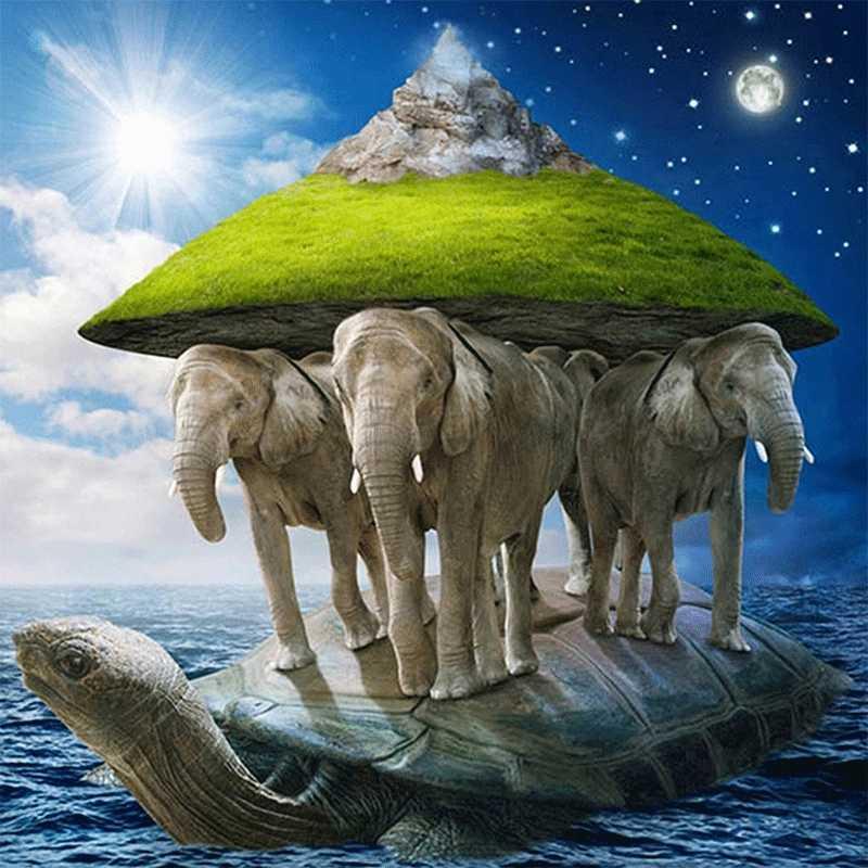 картинка земля на трех слонах китах и черепахе будет