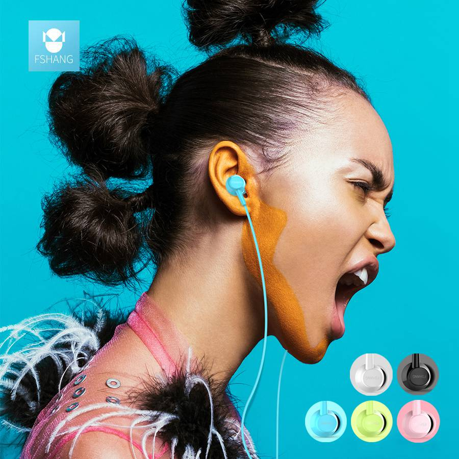 FSHANG Cheapest Cute In Ear Mini Bass Earphone With Mic Microphone 3.5mm Earphones Audifonos Airpods Ear Phone Earbuds Music ipsdi hf208 earphones dre dre earphone go pro earphone little audifonos girl earbuds with mic