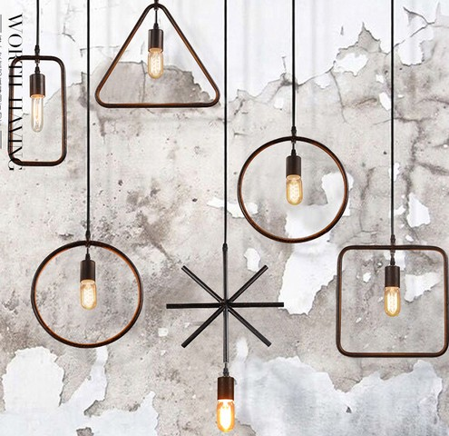 American Loft Iron Art Pendant Light Fixtures Fashion Industrial Vintage Lighting For Living Dining Room Bar Hanging Lamp loft style vintage pendant lamp iron industrial retro pendant lamps restaurant bar counter hanging chandeliers cafe room