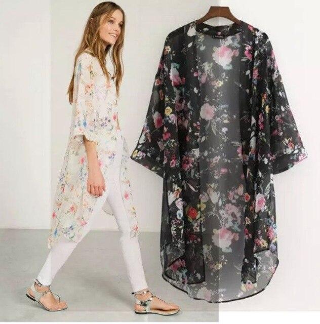 59515f6daa Women Floral Print Loose Cardigan Chiffon Tops Blouse Sexy Women Beach  Dress Cover Up Printed Long Sunscreen Clothing Y013