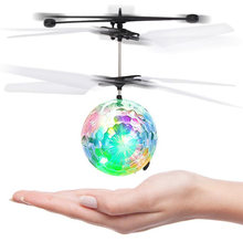 RC Flying Ball Drone Helicopter Ball Colorful Flying Ball Helicopter Built-in Shinning LED Lighting Flying Toys for Kids(China)