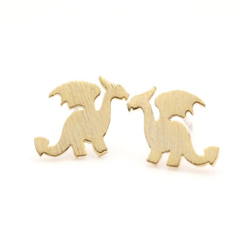 SHUANGR New Hollow Fox Head Small Dragon Silhouette Stud Earrings Alloy Plating Cute Animals Earrings for Women Girls