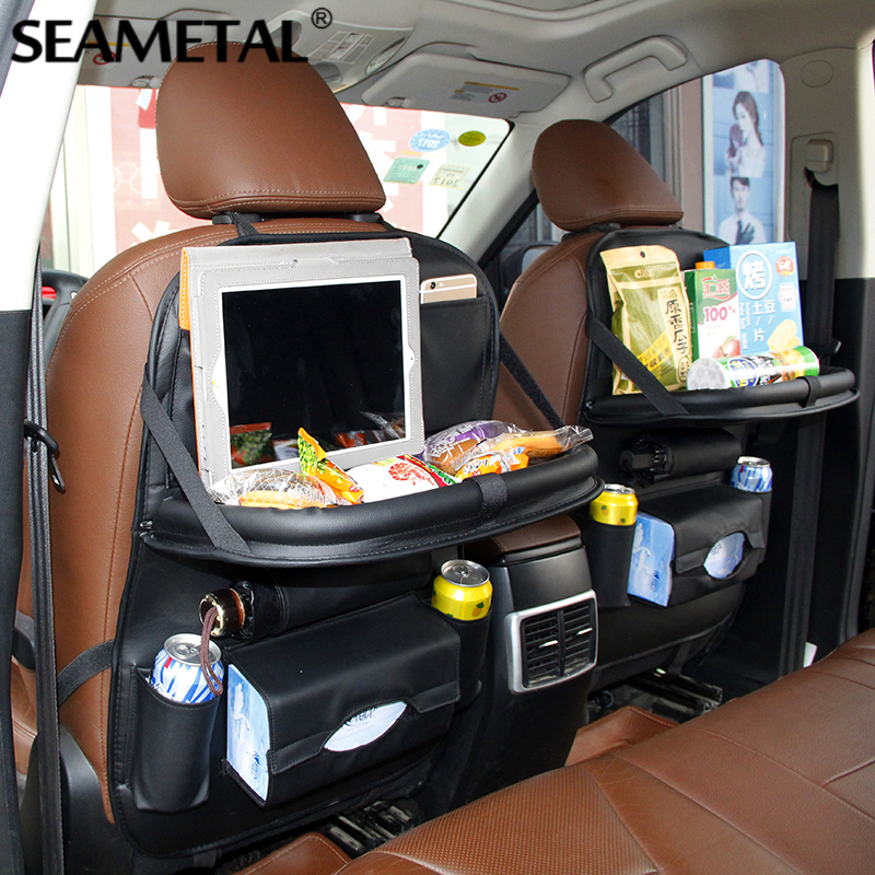 Car Back Seat Storage Organizer Net Pockets Bag Box Multi-function Travel Universal Container Phone Holder Stowing Tidying car mobile phone holder storage box container w sticker charging holes black