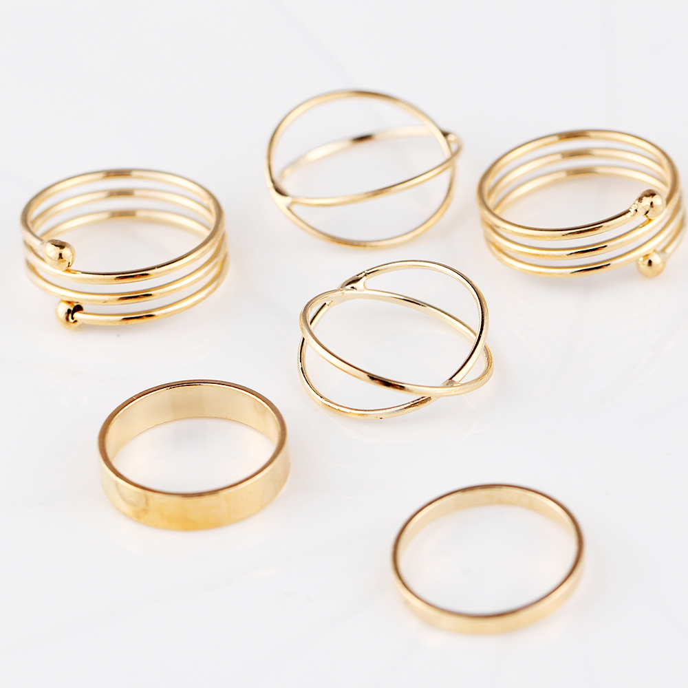 17km unique ring set gold color knuckle rings for
