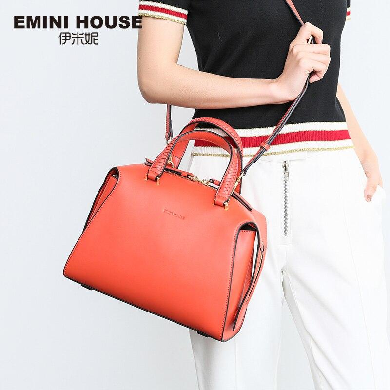 Эмини дом стильный Вязание ручка сумка Разделение кожа Для женщин Сумки высокое Ёмкость Crossbody сумки для Для женщин