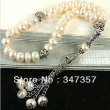 Natural 33 Freshwater Pearl Beads Prayer beads Islamic Muslim Tasbih Allah free shipping