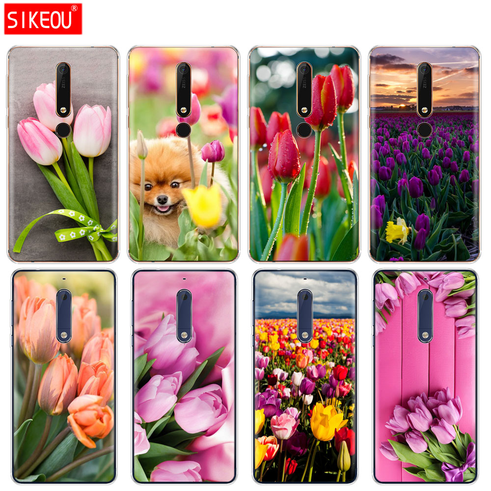 silicone cover phone case for Nokia 5 3 6 7 PLUS 8 9 Nokia 6.1 5.1 3.1 2.1 6 2018 Tulips flower Spring field Red pink  purple