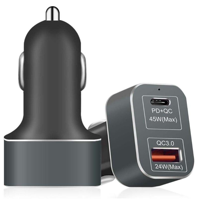 SIV 12-24 V Type C PD Charge Rapide 3.0 Chargeur De Voiture 69 W Adaptateur pour iPhone X S8 S7 Xiaomi LG