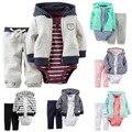 Niños bebes boy ropa de la muchacha set. ropa de bebé conjunto caca traje al por menor conjuntos capa + body + pants 3 unids meninos