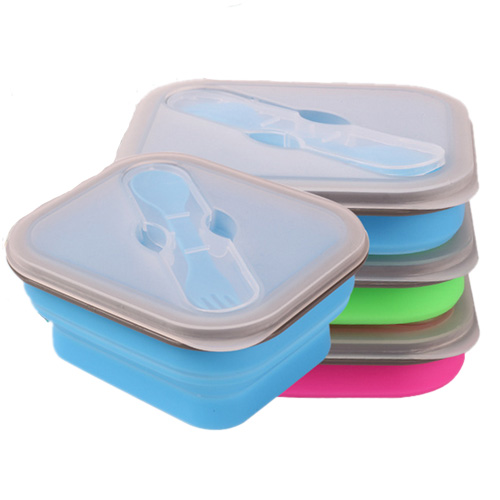 1 set bento lunch box small size collapsible lunch box food safe container silicone lunch boxes. Black Bedroom Furniture Sets. Home Design Ideas