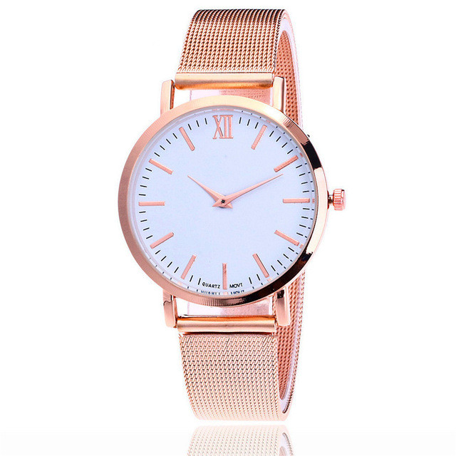 RUNER Brand Fashion Rose Gold Mesh Band Wrist Watch Luxury Women Silver Quartz Watches Gift Relogio Feminino Drop Shipping vansvar brand fashion casual relogio feminino vintage leather women quartz wrist watch gift clock drop shipping 1903