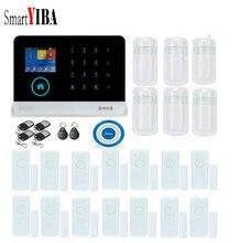 SmartYIBA teclado Touch WIFI IOS Android App Sistema de Alarme de Casa Inteligente Assaltante Sirene do Alarme de Porta Sensor De Movimento Infared Azul Kits