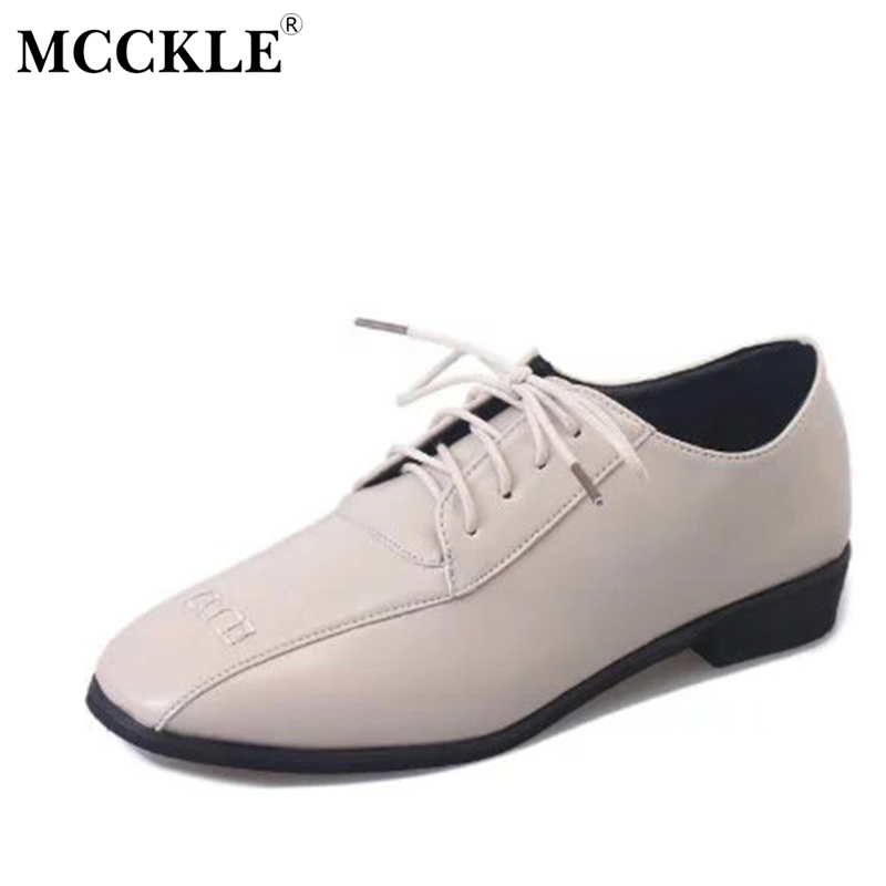 MCCKLE 2017 New Fashion Women Shoes Flat Woman Square Toe Lace-up Ladies Office Hot Sale Comfortable Casual Black mcckle 2017 fashion woman shoes flat women platform round toe lace up ladies office black casual comfortable spring
