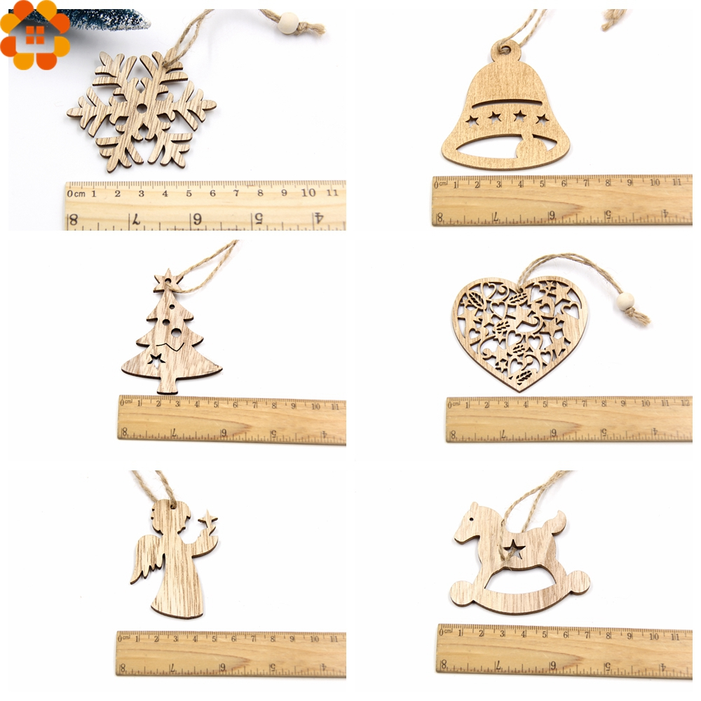 10PCS DIY Christmas Snowflakes Deer Tree Wooden Pendants Ornaments Christmas Party Decorations Xmas Tree Ornaments Kids Gifts in Pendant Drop Ornaments from Home Garden