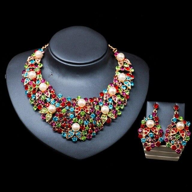 LAN PALACE Новые поступления красочное ожерелье комплект ювелирных изделий имитация жемчуга ожерелье и серьги для свадьбы Бесплатная доставка