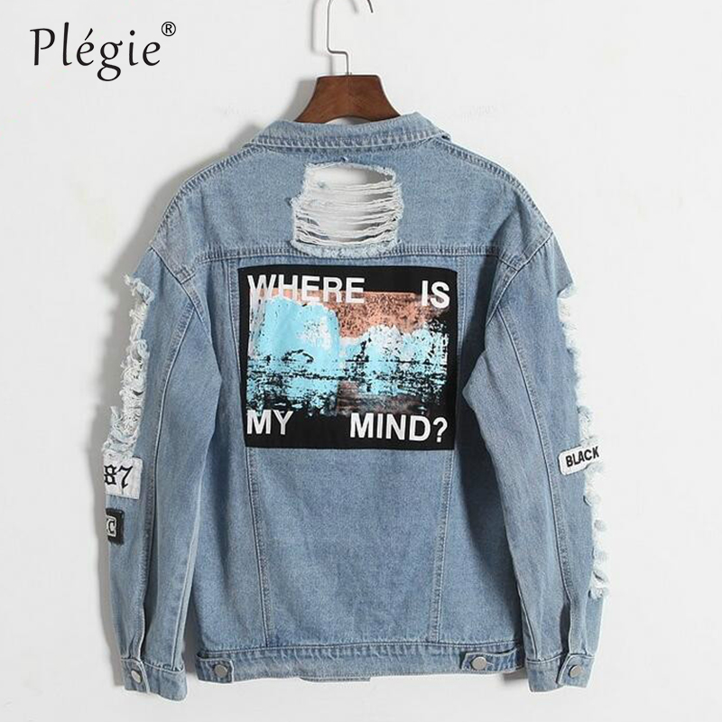 Plegie Denim Jacket Vintage Wash Water Distrressed Embroidery Letter Loose BF Denim Coat Hole Outerwear Female Drop Shipping