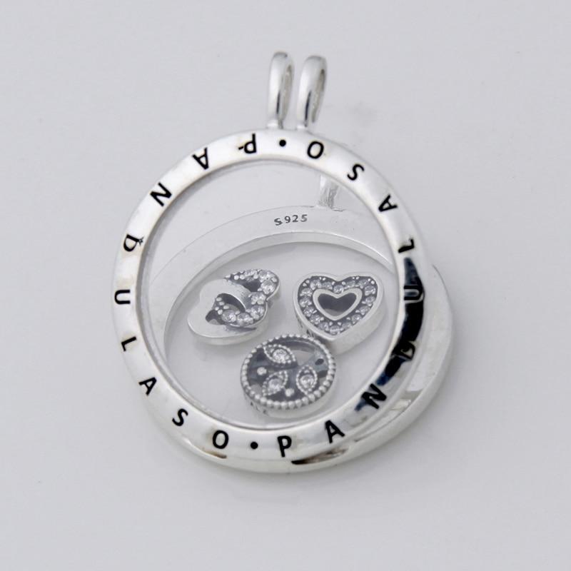 Pandulaso Love Family Petite Floating Locket Large Pendant Choker Original 925 Silver Charm Necklaces & Pendants for Women DIY