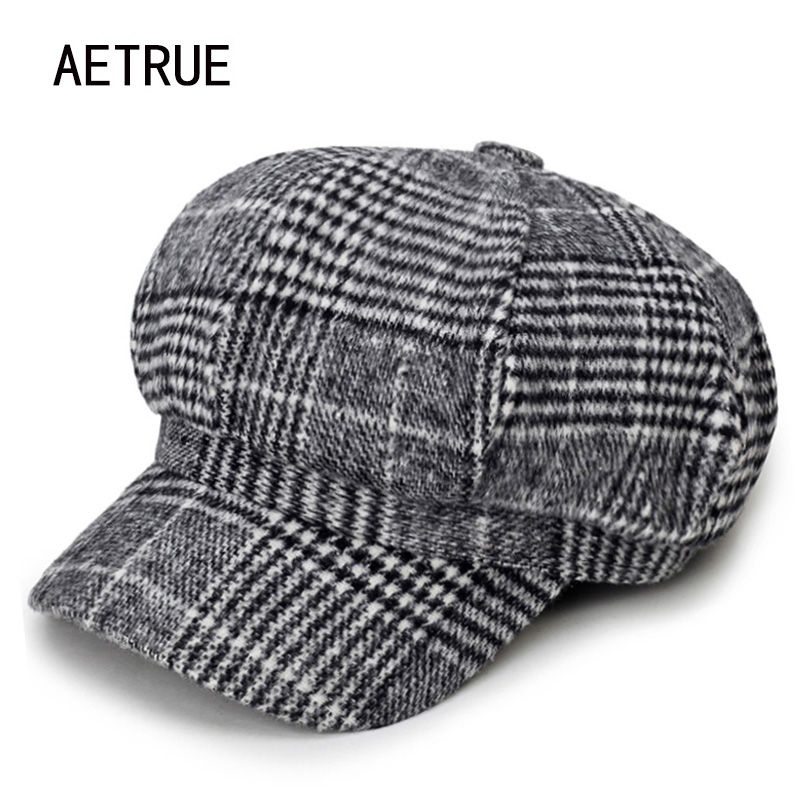 AETRUE Newsboy Caps Women Beret Hats For Women Girls Cotton Winter Fashion Boina Plaid Female Spring Ladies Octagonal Hats Caps