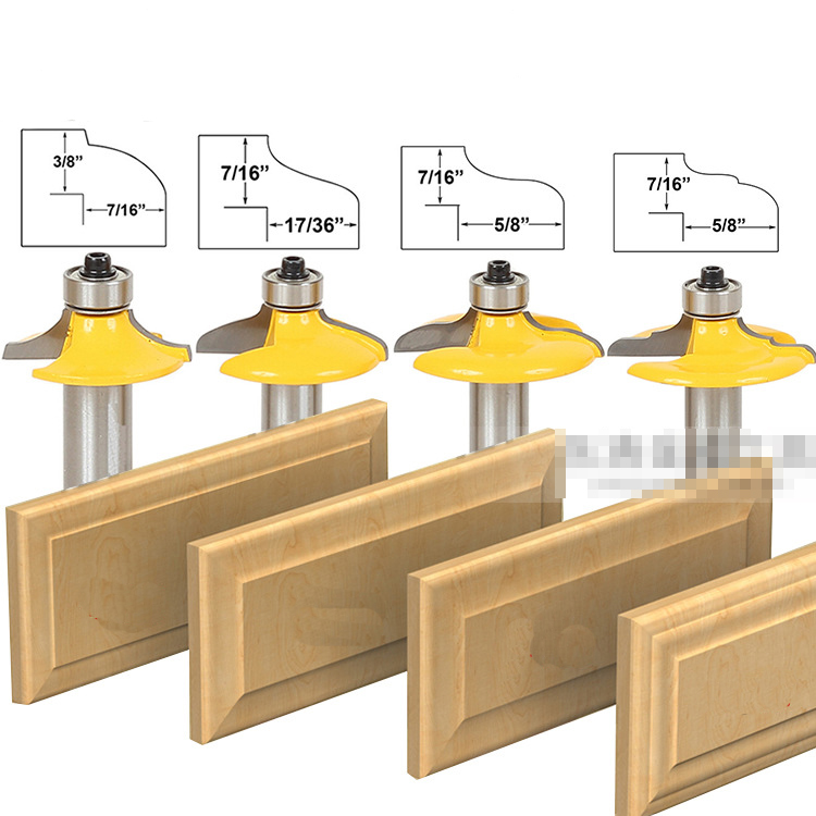3pcs Bit Raised Panel Cabinet Door Router Bit Set With Bevel 12