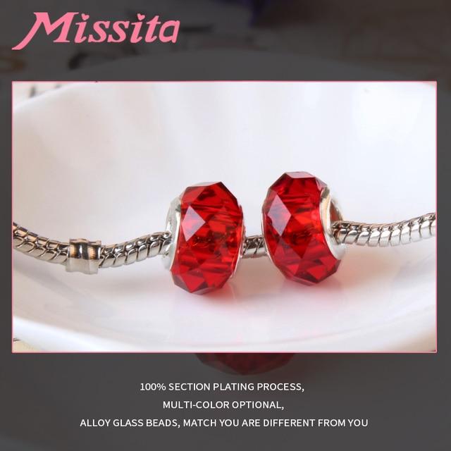 MISSITA Women Murano Glass Beads fit Pandora Bracelets for jewelry making Charms DIY Fashion Jewelry Accessories