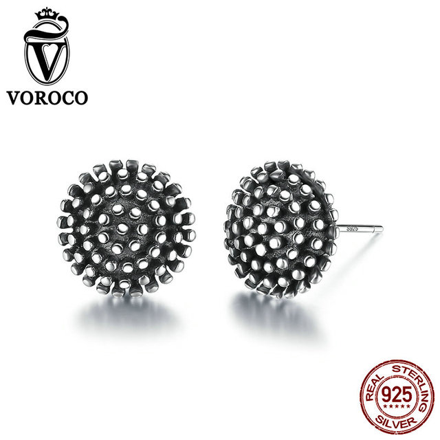 VOROCO Dark Light 925 Sterling Silver Entry Luxe Black and  Polish Vintage Round Stud Earring Unisex  Women &Man Fine Jewelry