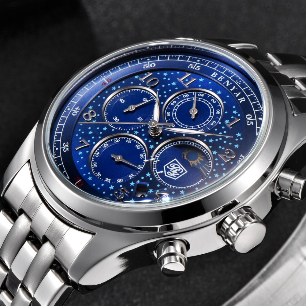 цены Benyar Quartz Chronograph Watch Men Top Brand Luxury Stainless Steel Waterproof Sport Business Moon Phase Watch Men Wrist Clock