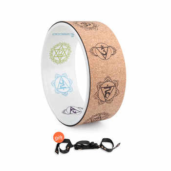 Cork Yoga Circle Painted Inner Laser Engraving Round Exercise Wheel Sports Bodybuilding Sliming Tool Pilates Fitness Train Wheel
