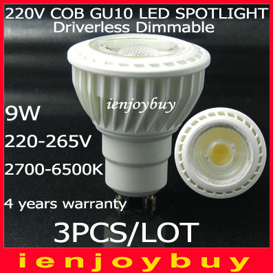 3pcs/lot High Lumens 7w 9W driverless dimmable COB LED Spot light lamp GU10 With Epistar Chips 4 years warranty 2015 rushed led spot free shipping dimmable 0 100%1pcs lot cob led down light epistar ac85 265v input voltage epistar light