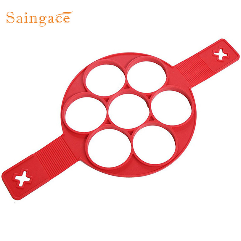 No Stick Flippin egg mold Silicone 7 Holes Perfect Pancakes Ring Make 7 Eggs One Time