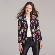 QYFCIOUFU New 2019 Spring and autumn Women Blazer Floral print Jackets Runway Casual Coat korean Blazers Tops Suit