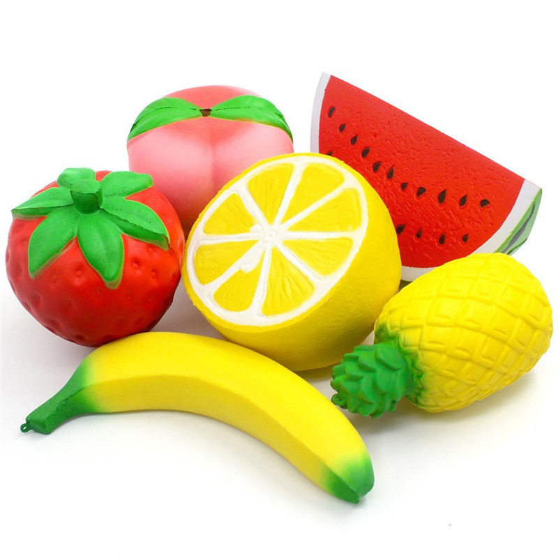 6PCS Squishies Slow Rising Strawberry Peach Banana Lemon Watermelon Pineapple Charms Fruit Squishies Cream Scented Stress Relief
