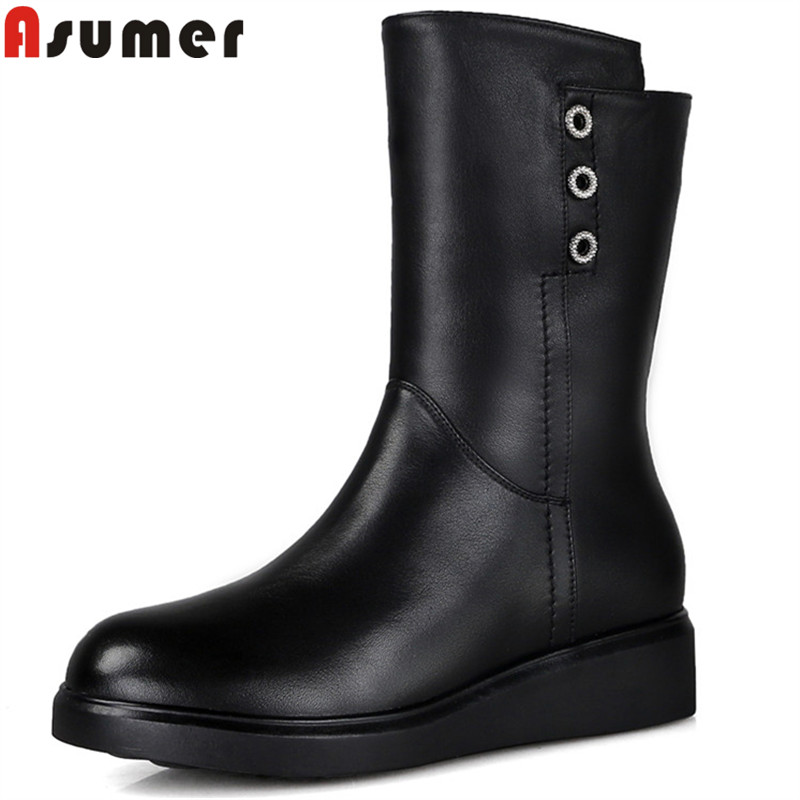 ASUMER 2018 fashion hot sale new winter snow boots round toe zip genuine learther boots flat with wool keep warm ankle boots ASUMER 2018 fashion hot sale new winter snow boots round toe zip genuine learther boots flat with wool keep warm ankle boots