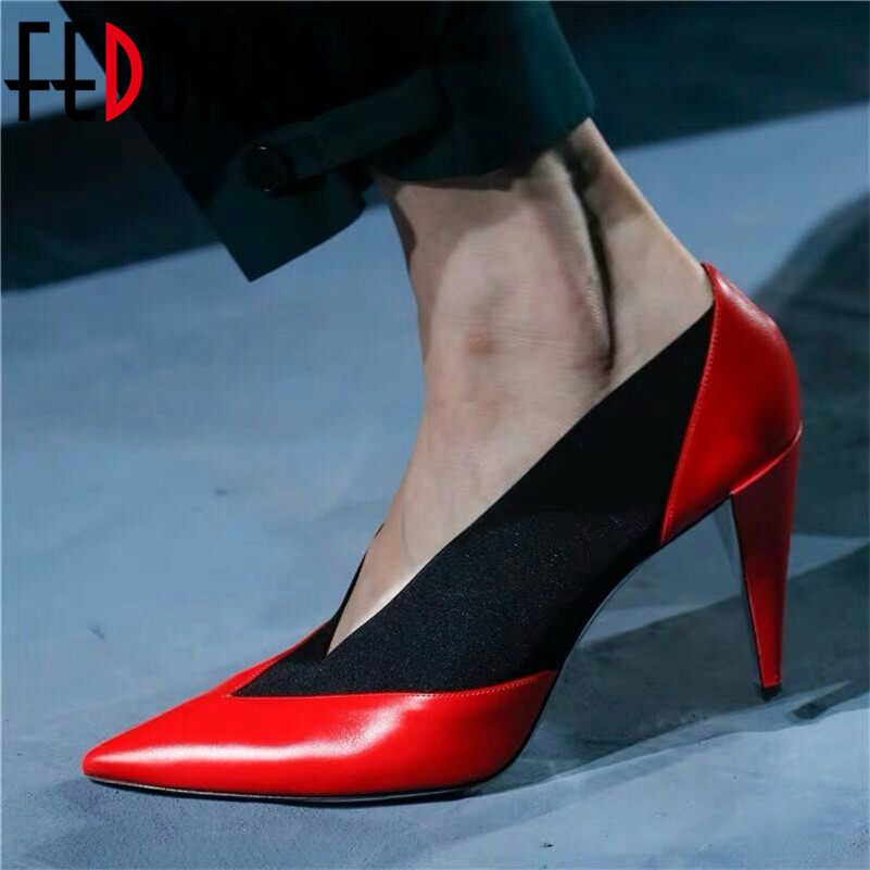FEDONAS Brand Design Women Pumps Spring Summer New Arrival Fashion Genuine Leather High Heels Party Shoes Woman Night Club Shoes