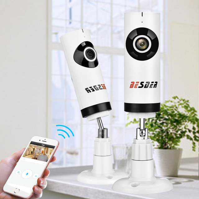 BESDER 180 Degree Panoramic Fish Eye Lens IP Camera Wifi Wireless Indoor Digital PTZ P2P IP Cam With SD Card Slot Two Way Audio
