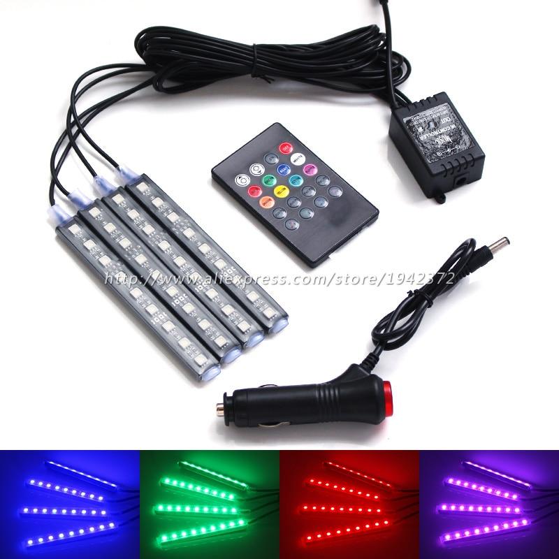 RGB LED φώτα διακόσμησης τηλεχειριστηρίου φωνής μπλε / άσπρο / ροζ / παγωτό εσωτερικού χώρου διακοσμητική λωρίδα φωτισμού για όλα τα αυτοκίνητα