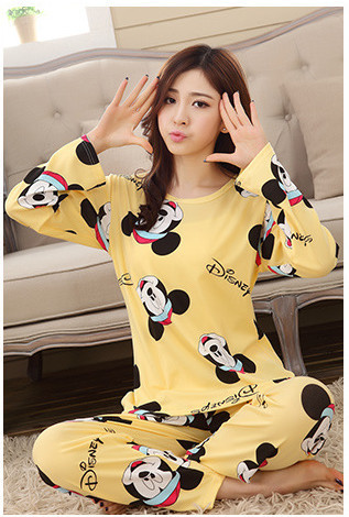 2018 New Autumn Winter 2pieces Pyjamas Set Women Girls Cotton Round Neck Pajamas Sets Teacup Cat Sleepwear Clothes Free Shipping