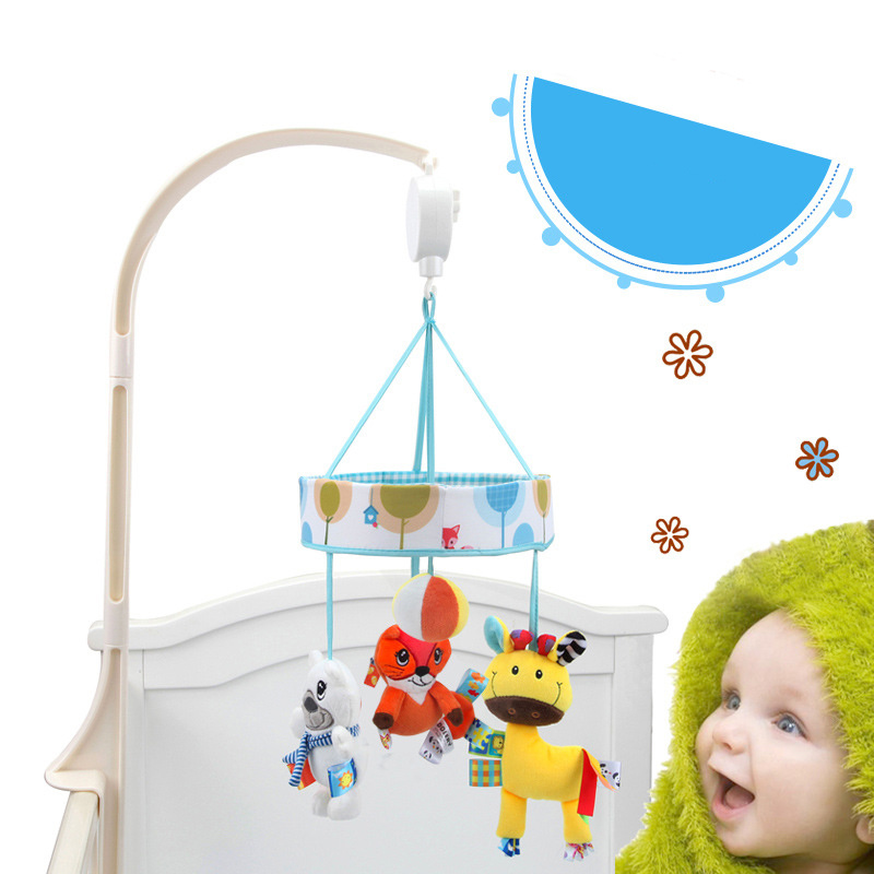Baby Rattle Newborn Cartoon Animal Music Bed Hanging Bed Bell Baby Stroller Pendant Rattles Toy Baby Music Enlightenment Toy in Baby Rattles Mobiles from Toys Hobbies