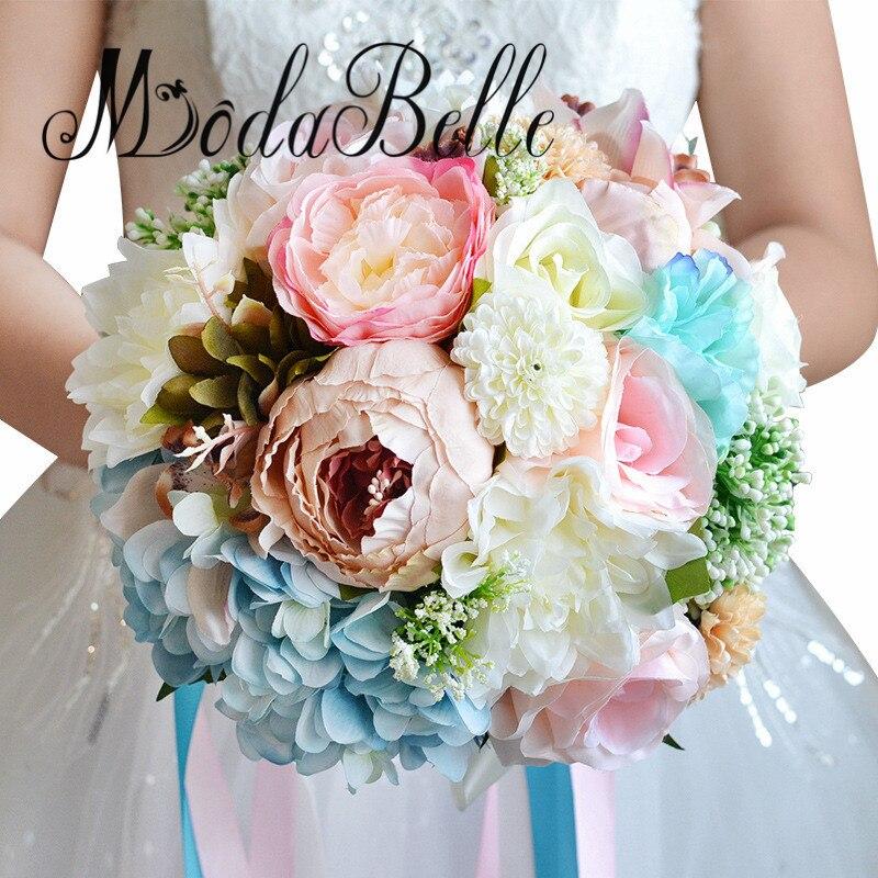 Silk Flower Wedding Bouquets For Sale: Modabelle Artificial Silk Ribbons Brooch Wedding Flowers