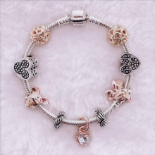 Подарок для девочки, очаровательные браслеты с изображением Микки Мауса и ювелирные женские браслеты, розовый кулон с бантом, брендовый браслет ручной работы