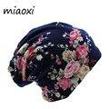 Miaoxi sorpresa precio nueva moda 2 mujeres usadas sombrero de flores bufanda de punto otoño gorras 4 colores Casual gorros Skullies Bonnet sólido