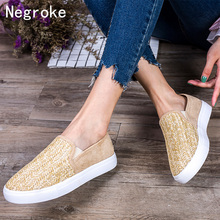 купить Women Flats Shoes Slip On Casual Ladies Woven Straw Shoes Lazy Loafers Female Espadrilles 2019 New Autumn Footwear Plus Size 43 по цене 856.63 рублей