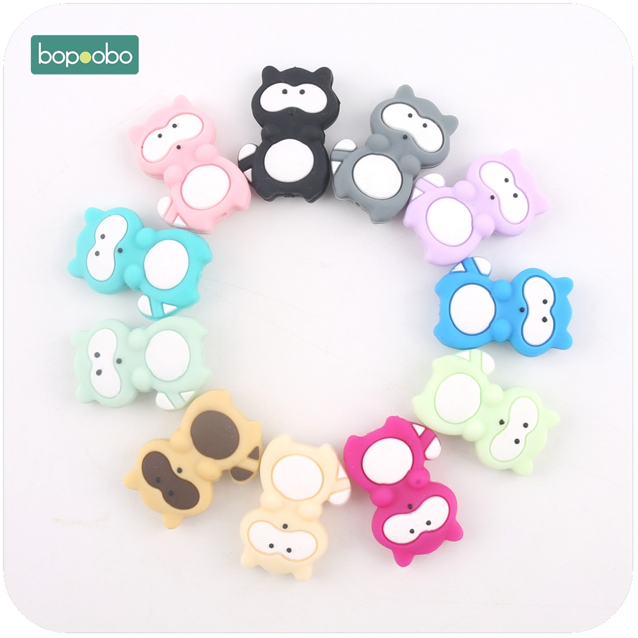 Bopoobo 3pcs Baby Nursing Accessories Silicone Animals Teething Raccoon Silicone Lovely Mini Raccoon Beads Shower Gift Beads