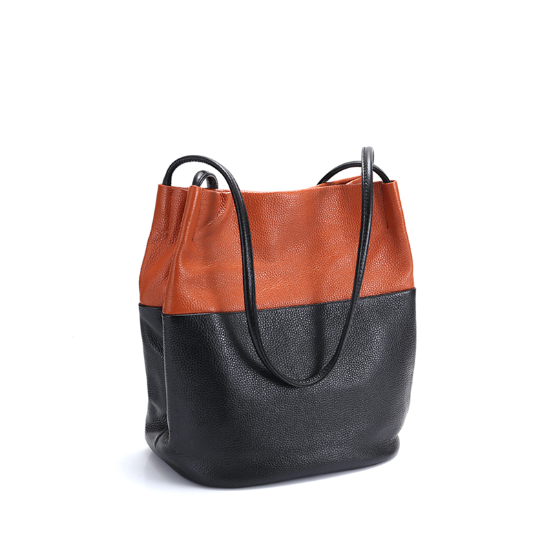 Shoulder Bag Female Women Soft Cow Leather Tote Casual Lady's Bag Design Shopping Bucket Bag