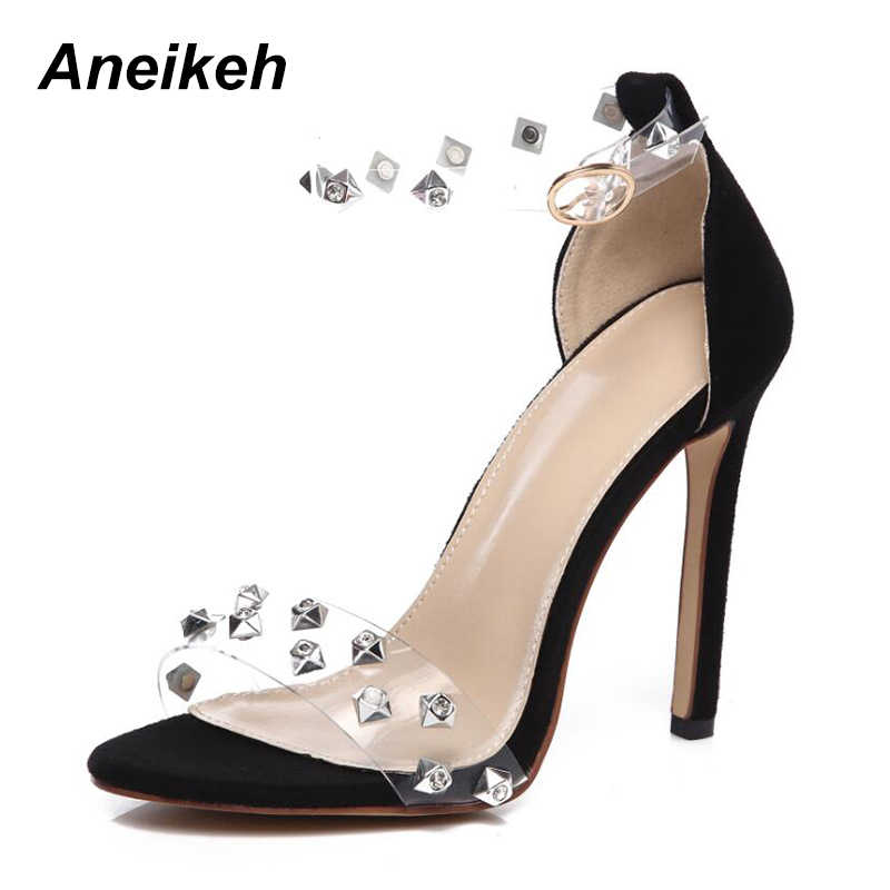 bd92d1d7caaa Aneikeh 2018 New Summer Roman Transparent Rivet Women Shoes Sexy High Heels  Fashion Solid Color Peep