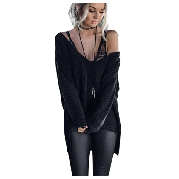 Women's Fashion Spring Autumn knitted Thin Pullover Sweater Sexy Long Sleeve V Neck Off Shoulder Jumpers Sweater