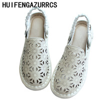 HUIFENGAZURRCS-Summer new genuine leather original handicraft arts sandals,retro flat sole super soft womens shoes