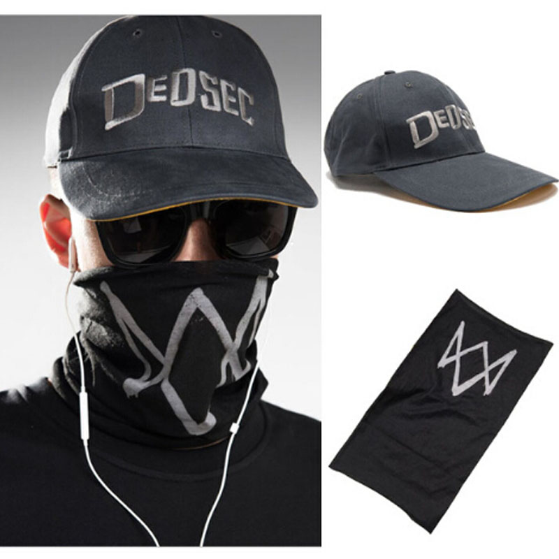 High Quality Unisex Black Face Mask Game Watch Dogs 2 WD2 Marcus Holloway Cosplay Dedsec Hat Cap Party Halloween Costumes Ball gorras planas de fortnite